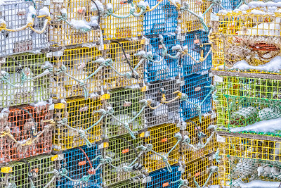 Acadia National Park, Maine, USA.  Colorful frozen lobster traps.