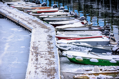 Acadia National Park, Maine, USA.  motor boats lined up in winter.