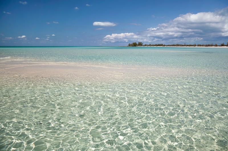 Sandbar and water at low tide in Eleuthera, Bahamas