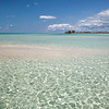 Sandbar and water at low tide in Eleuthera, Bahamas