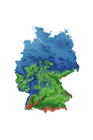 Elevation map of Germany