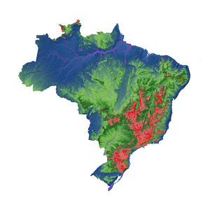 Elevation map of Brazil