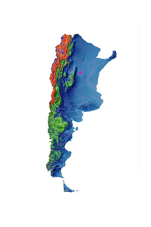 Elevation map of Argentina