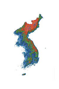 Elevation map of Korea