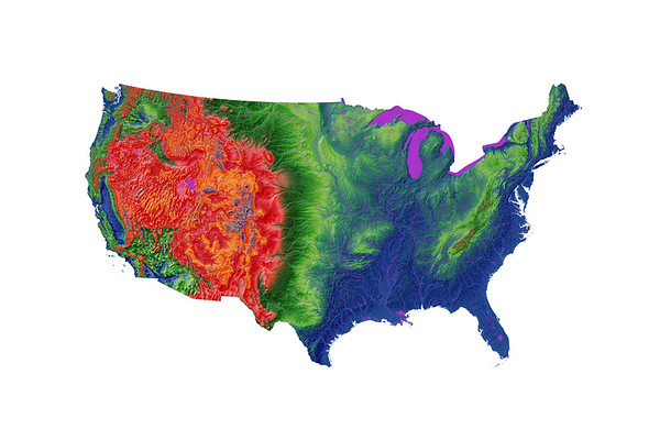 Elevation map of the contiguous United States
