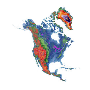 Elevation map of North America