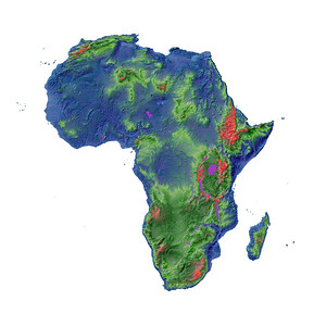 Elevation map of Africa