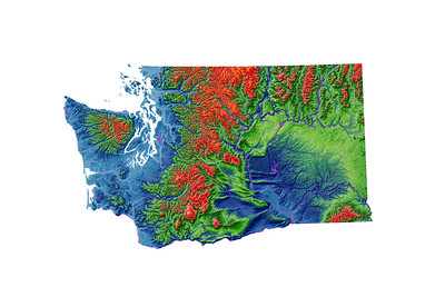 Elevation map of Washington