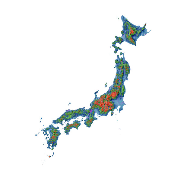 Elevation map of Japan