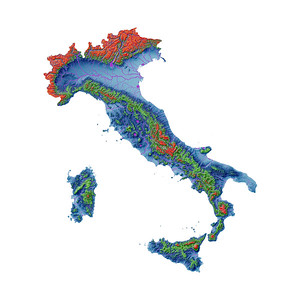 Elevation map of Italy