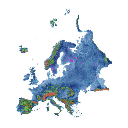 Elevation map of Europe