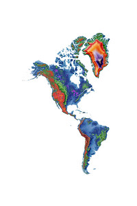 Elevation map of the Americas