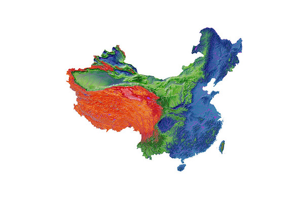 Elevation map of China and Taiwan