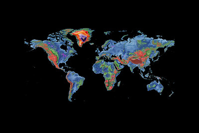Elevation map of the world