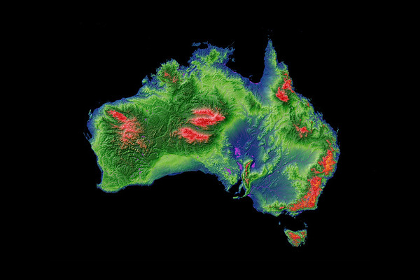 Elevation map of Australia