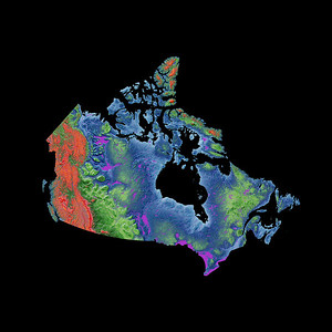 Elevation map of Canada