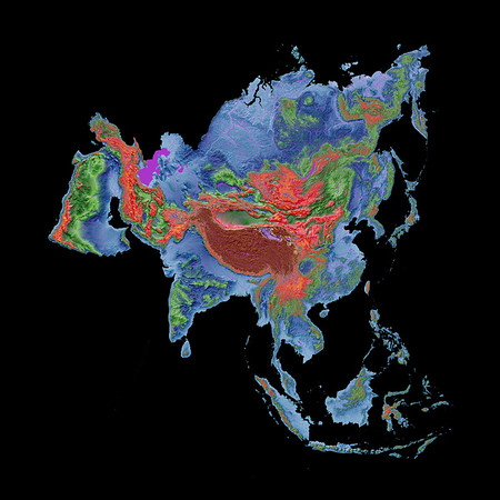 Elevation map of Asia