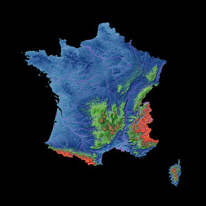 Elevation map of France