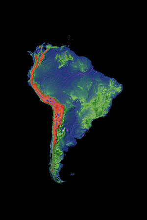 Elevation map of South America