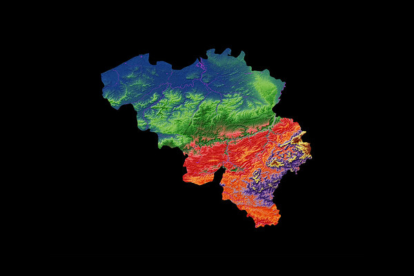Elevation map of Belgium