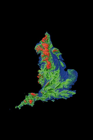 Elevation map of England