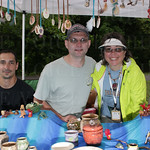 Chris Delarosa with Brian and Mindy Stoess of Forest View Pottery.