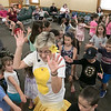 On Tuesday afternoon the Leominster Public Library hosted the music show featuring Elijah T. Grasshopper and Friends. This interactive music concert made kids hop, wiggle and giggle for and hour and was sponsored by Avidia Bank, and Anderson, Bagley &  Mayo Insurance, who are corporate sponsors of the Friends of the Leominster Public Library. Kids dance around and follow Jaki the Yellow Sunshine Bean during the performance. SENTINEL & ENTERPRISE/JOHN LOVE