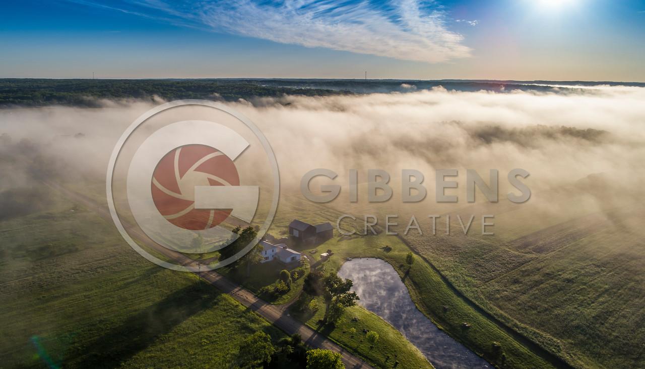 Edinboro Farm in Fog Wide