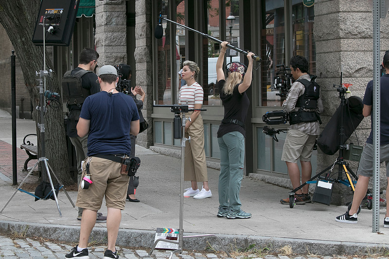 A bank commercial was being filmed on the intersection of Middle Street and Palmer Street in Lowell on Monday, July 22, 2019. Performing in the commercial was Elizabeth Banks, in white stripped shirt, best know for her role as Effie Trinket in The Hunger Games film series. SENTINEL & ENTERPRISE/JOHN LOVE