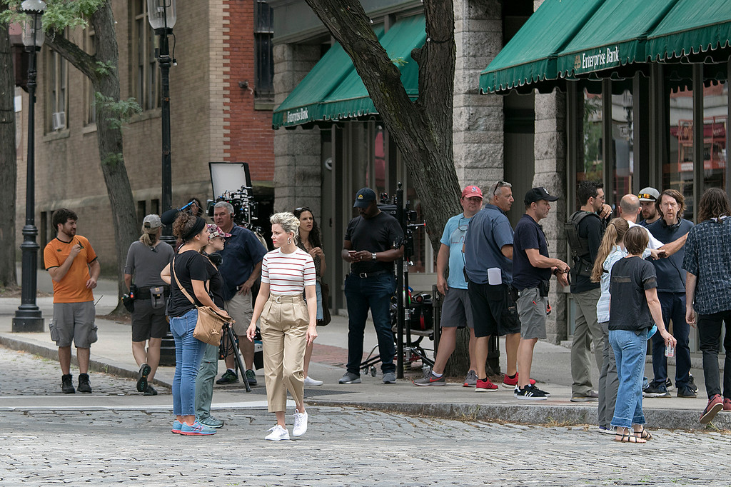 . A bank commercial was being filmed on the intersection of Middle Street and Palmer Street in Lowell on Monday, July 22, 2019. Performing in the commercial was Elizabeth Banks, in white stripped shirt, best know for her role as Effie Trinket in The Hunger Games film series. SENTINEL & ENTERPRISE/JOHN LOVE