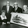 Stewarts, Lawrence T. Dee, Thomas T. Dee with portrait of Dee Events Center, 1974