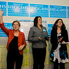Senator Elizabeth Warren, State Senator Jennifer Flanagan and Democratic Candidate for State Rep. Natalie Higgins address the crowd at Higgins' headquarters on Saturday afternoon. Warren has endorsed Higgins for State Representative in Leominster. SENTINEL & ENTERPRISE / Ashley Green