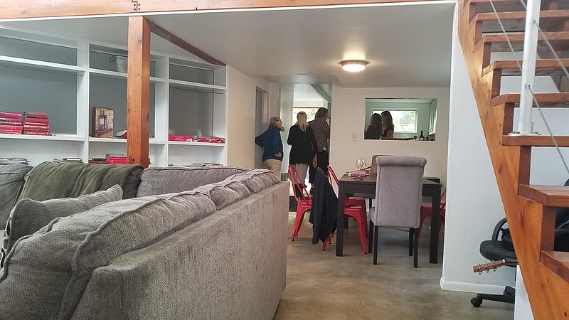 living room looking to Dining and Kitchen