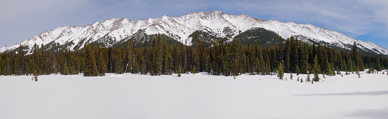 """Elk Range panorama, across the east pass from the """"snow couch"""". Alberta to the left, BC to the right. Click image for larger view, then back button on browser to return."""