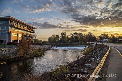 Sunrise at the Elkhart River Dam