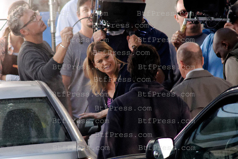 Exclusive___ Ellen Pompeo and cast during the set of Grey's Anatomy in Los Angeles,California.