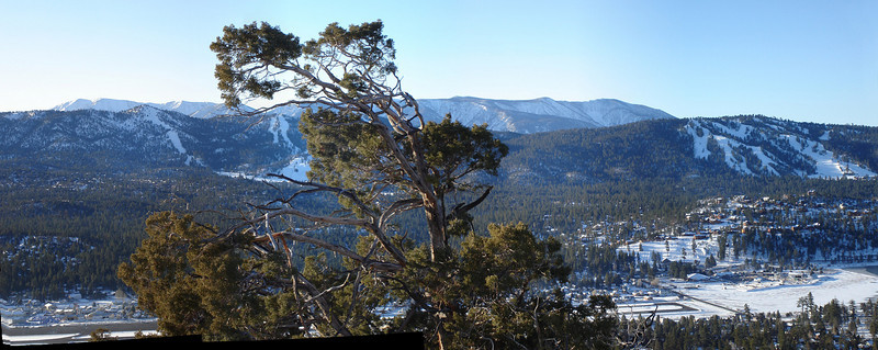 A four photo panorama taken from the mountainside above our cottage in Big Bear<br /> <br /> Bear Mountain ski area is on the left, Snow Summit on the right. In the left background is Mt. San Gorgonio, at 11,502 ft, the highest peak in Southern California.