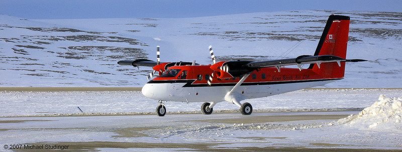 C-FSJB arriving at Resolute Bay in Nunavut; Canada for gravimeter test flights from Eureka on Ellesmere Island.