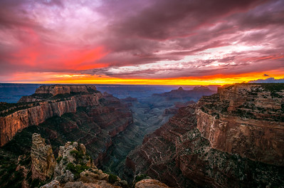 NORTH RIM BREAKING STORM SUNSET GRAND CANYON