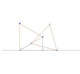 Dr. Elliot McGucken Simple Golden Ratio Construction: Consider two congruent equilateral triangles ABC and DEF both resting on a common horizontal line. AB is perpendicular to the horizontal line. Point D is at the midpoint of AC. E rests on the horizontal line. CK is perpendicular to the horizontal line. The ratio of segments AK/KE is the golden ratio.