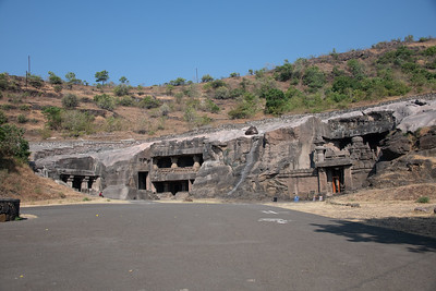 World Heritage Ellora Caves. Cave 32 entry  on the right.