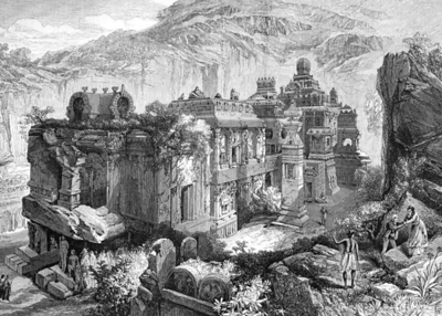 19th Century drawing of the Kailasa Temple.