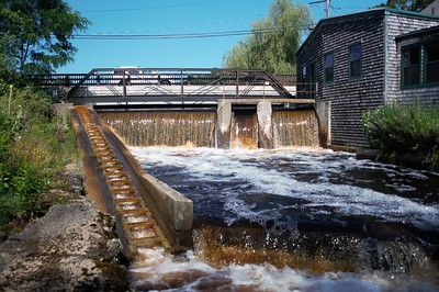 High flow at the elm street dam as a result of consistent heavy rain storms in early July.
