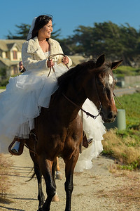 Romantic elopement with Tanya and Joey, riding horses at Seal Rock, Pebble Beach, California.