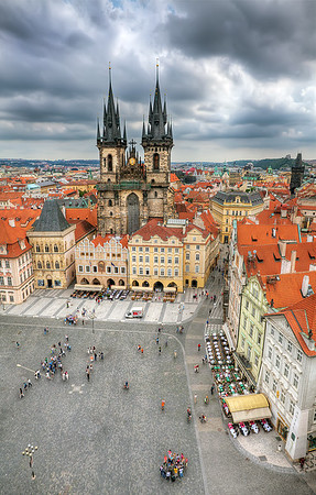 The Church of Our Lady before Týn from Bell Tower - Prague