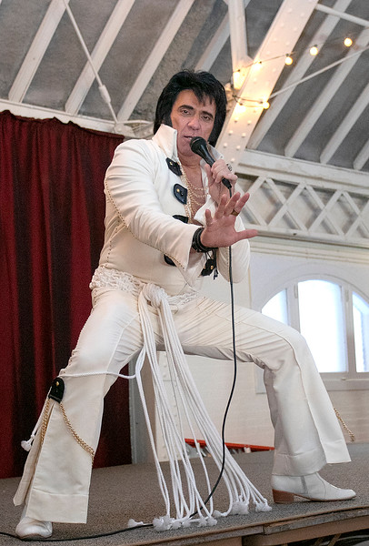 Robert Black portraying Elvis entertained the crowd at the Fitchburg Senior Center on Wednesday, Jan 29, 2020 with an hour worth of Elvis songs. SENTINEL & ENTERPRISE/JOHN LOVE