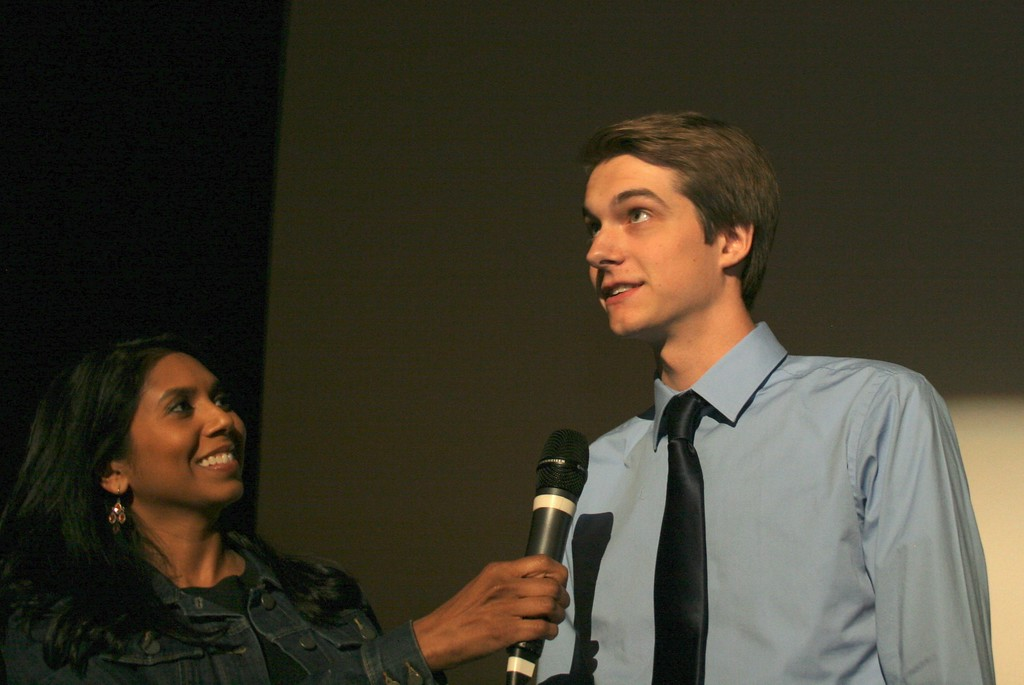 . Local news anchor Anu Prakash (left), congratulates Grand Prize winner Scott McLaren, 18, the film\'s director and a student at Stoney Creek High School. Photo by Brandy Baker / For Digital First Media