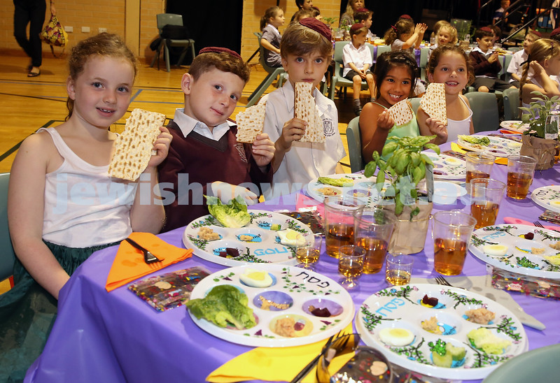 Emanuel infants demo Seder. Georgie Rosen, Oliver Novy, Toby Seeman, Amaya Singam, Sienna Mezei.