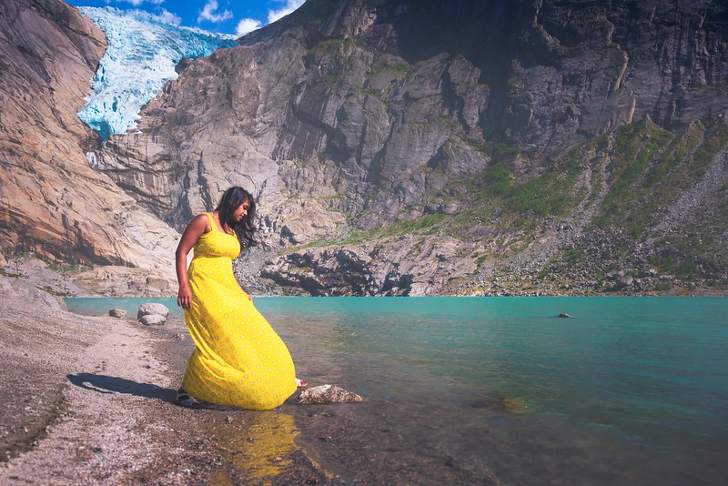 When your beautiful model want to touch and feel the glacier water!