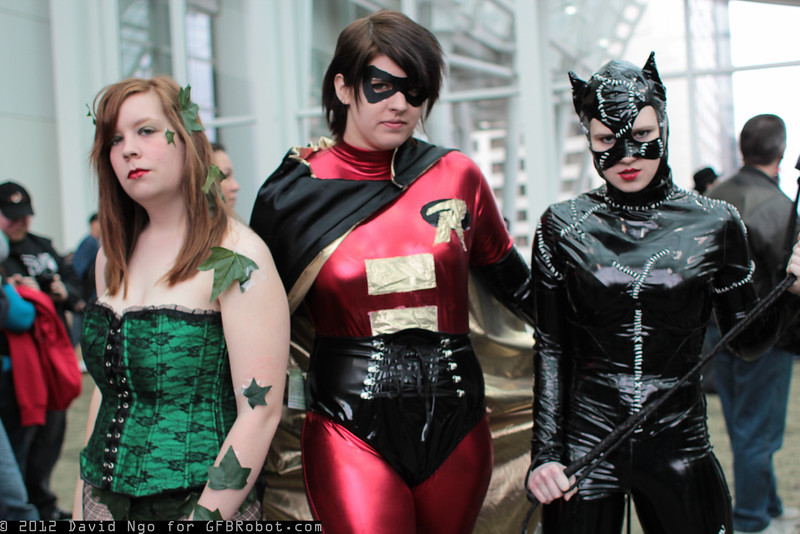 Poison Ivy, Robin, and Catwoman